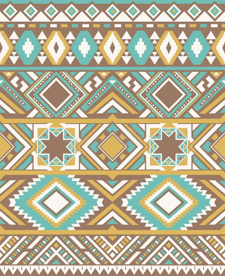 Textures ethniques sans couture de modèle Copie géométrique de Navajo abstrait Couleurs jaunes et bleues illustration libre de droits