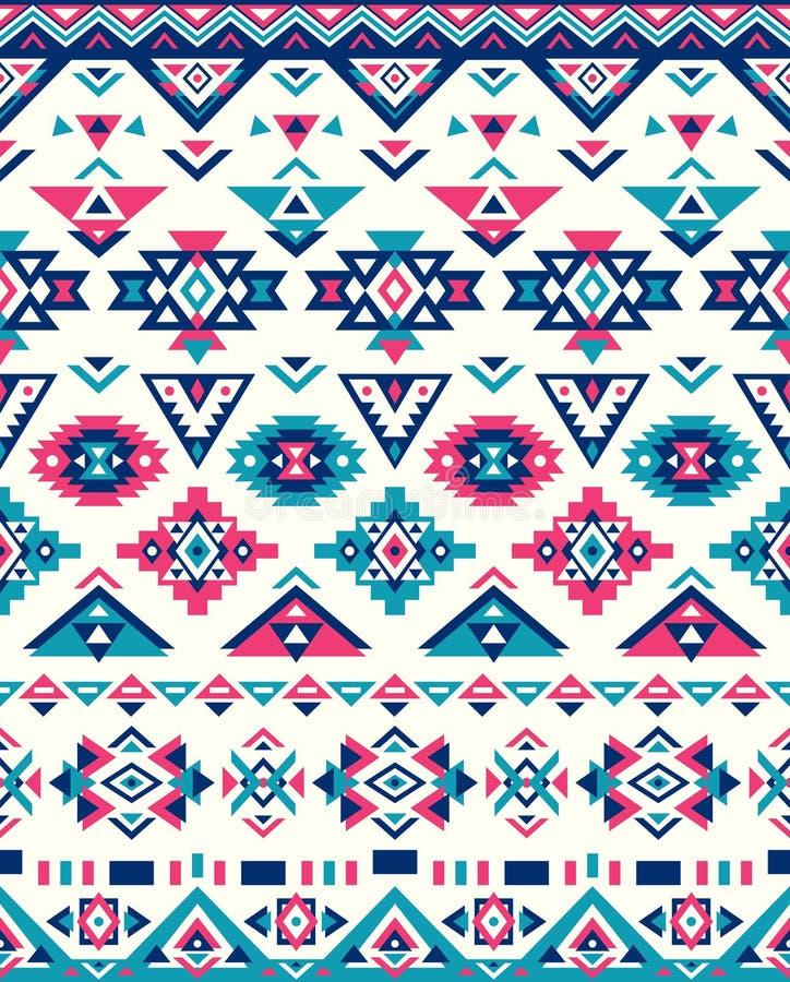 Textures ethniques sans couture de modèle Copie géométrique de Navajo abstrait Couleurs roses et bleues illustration libre de droits