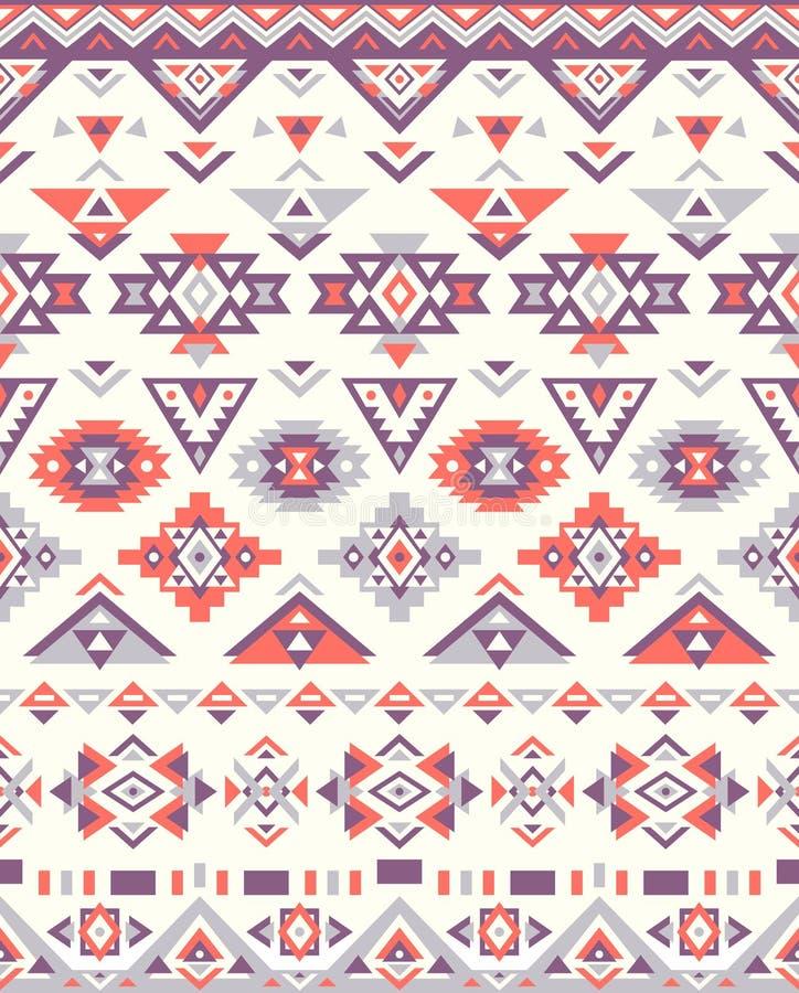 Textures ethniques sans couture de modèle Couleurs d'Orange&Purple Copie géométrique de Navajo Ornement décoratif rustique illustration libre de droits
