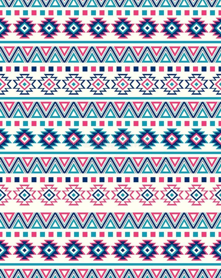 Textures ethniques sans couture de modèle Couleurs roses et bleues illustration stock