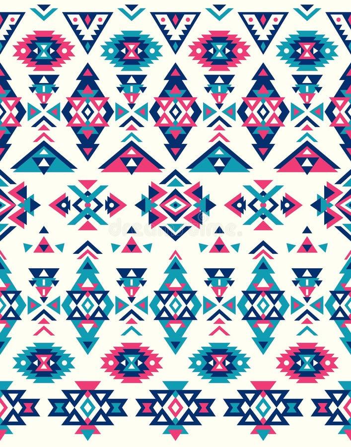 Textures ethniques sans couture de modèle Modèle de natif américain Couleurs roses et bleues illustration de vecteur