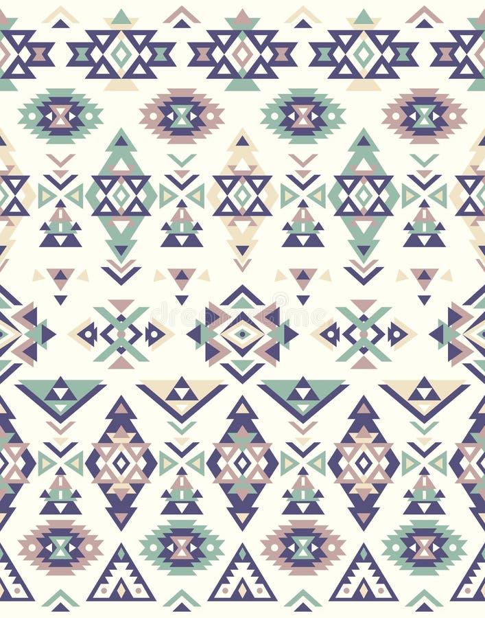 Textures ethniques sans couture de modèle Modèle de natif américain Couleurs vertes et bleues illustration stock