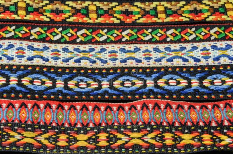 Textures indiennes indigènes colorées de tissu de bandeau photographie stock libre de droits