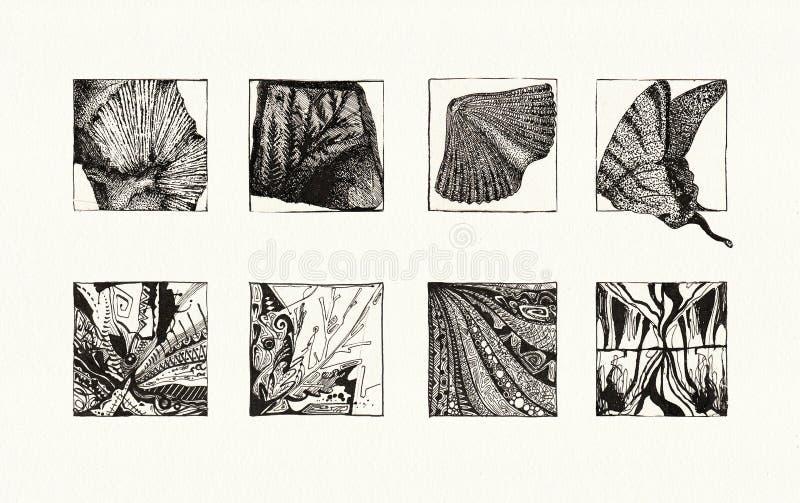 Textures naturelles (encre) illustration libre de droits