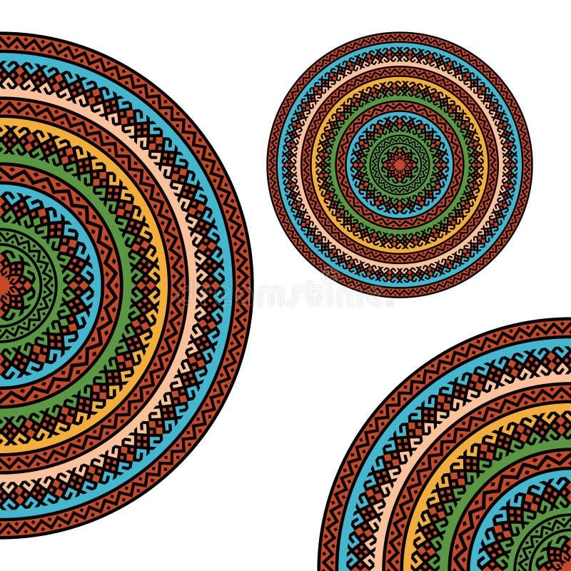 Textures orientales ornementales colorées sur le blanc illustration libre de droits