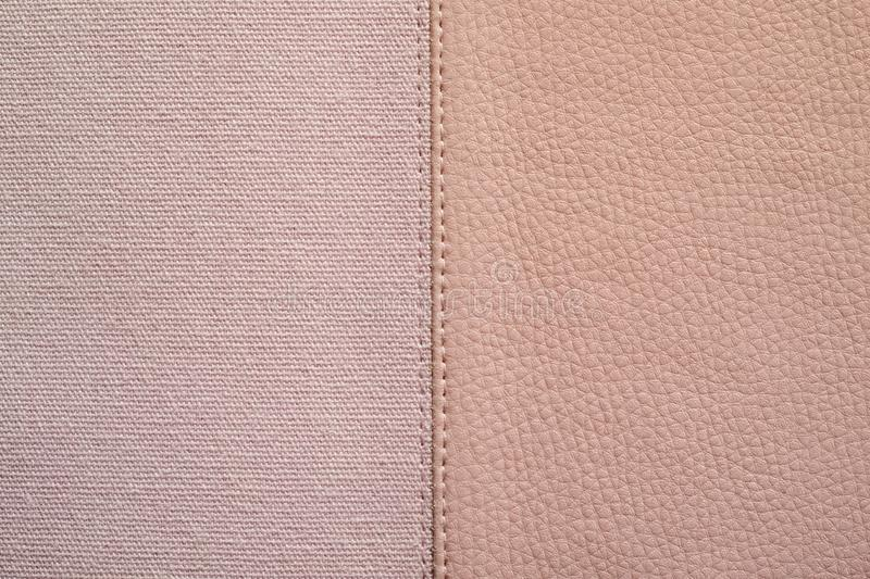 Textures of pink color from fabric and leather stock photos