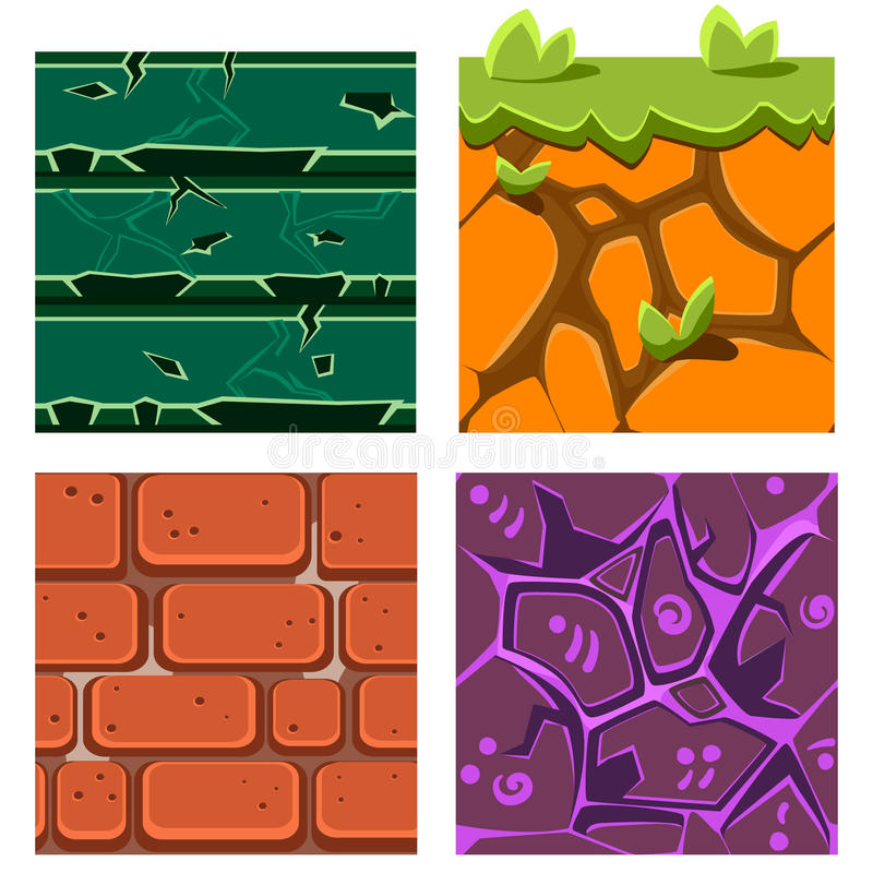 Textures for Platformers Icons Vector Set of Gems. Textures for Platformers Icons Vector Illustration Set of Gems, Bricks and Ground vector illustration