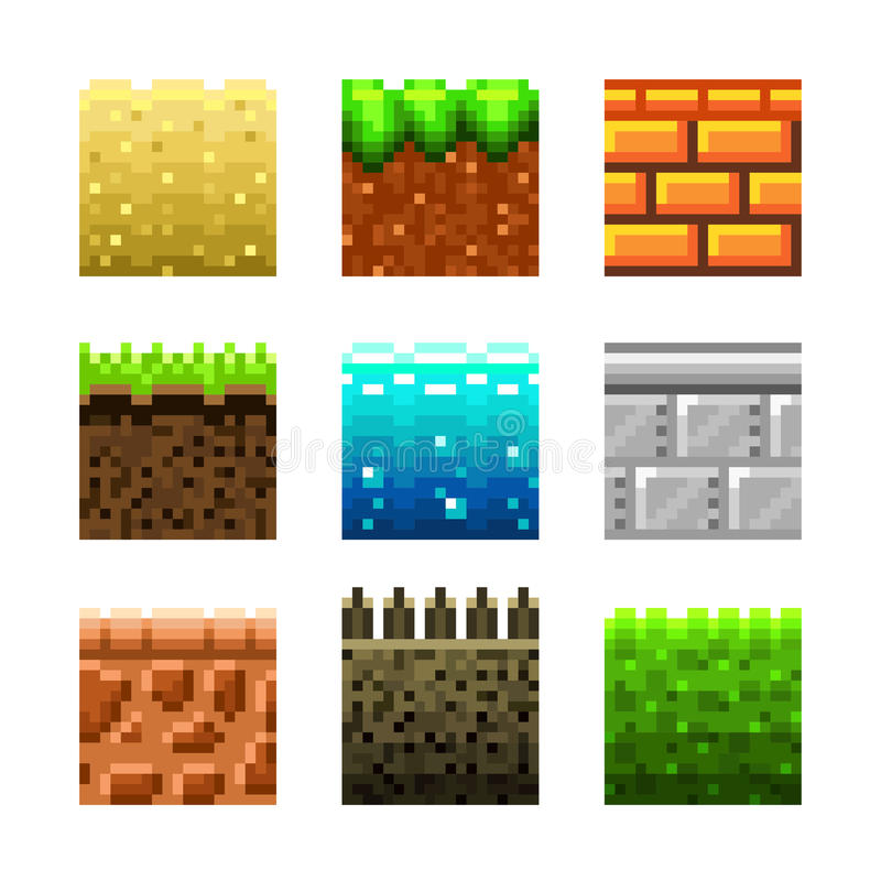 Textures pour l'ensemble de vecteur d'art de pixel de platformers illustration stock