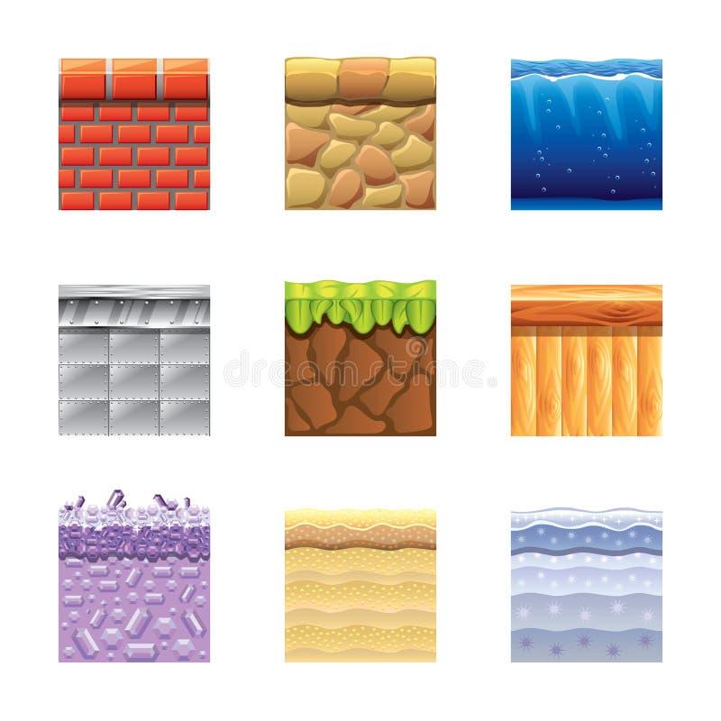 Textures pour l'ensemble de vecteur d'icônes de platformers illustration libre de droits