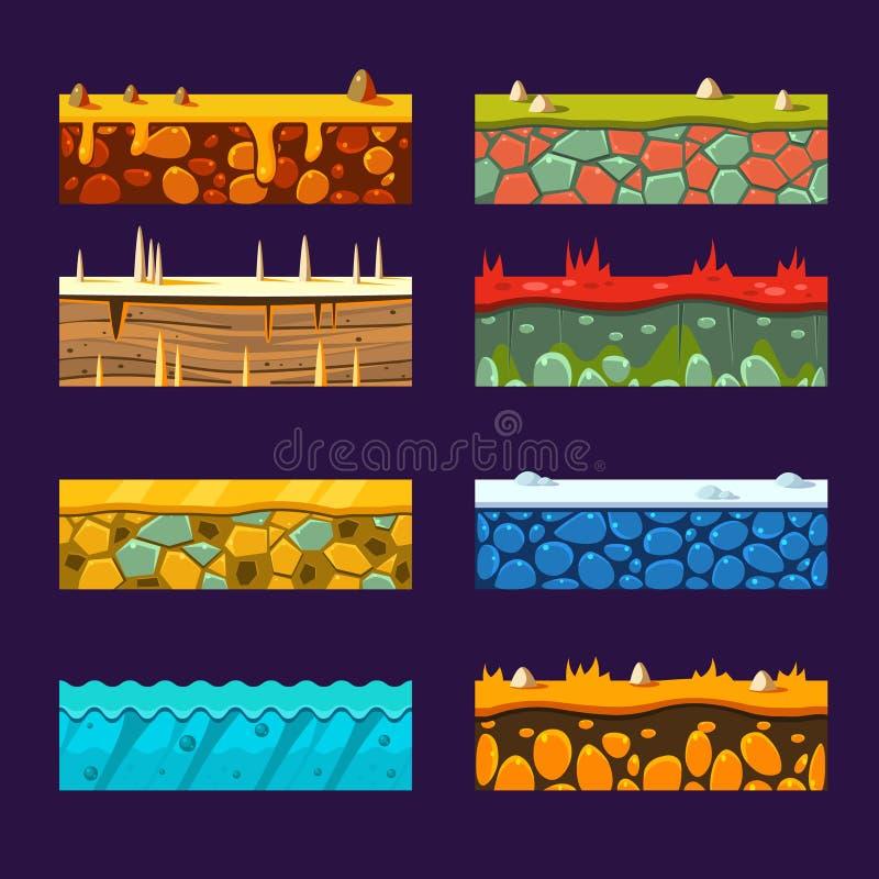 Textures pour Platformers, ensemble de vecteur illustration de vecteur