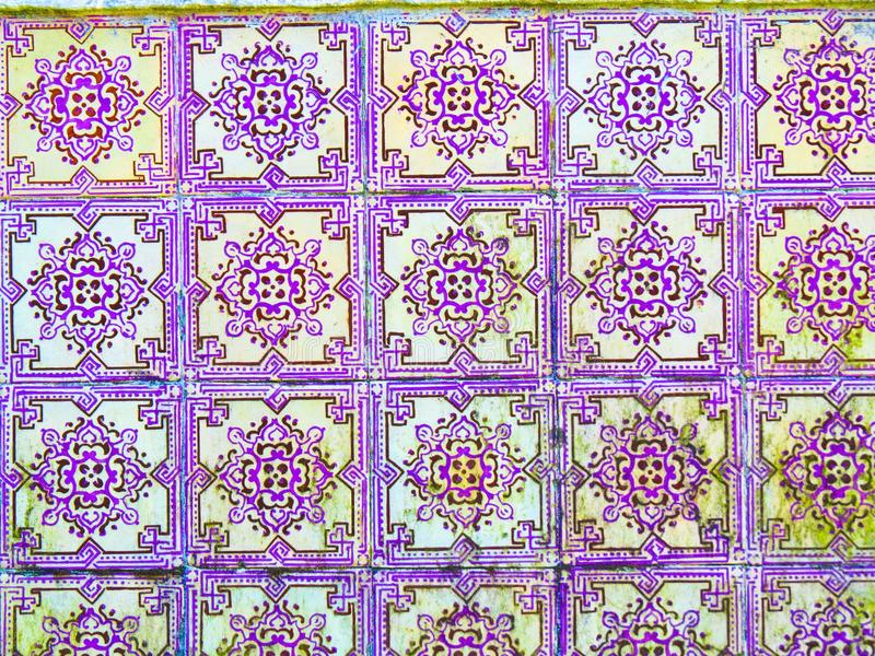 Portuguese Purple Glazed Tiles, Textures, Dirty, Forsaken, Portugal Handmade Crafts and Arts stock photos