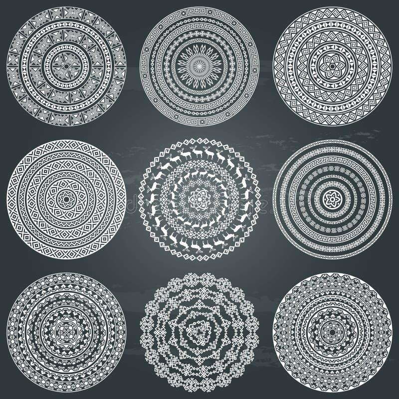 Textures rondes ethniques monochromatiques illustration libre de droits