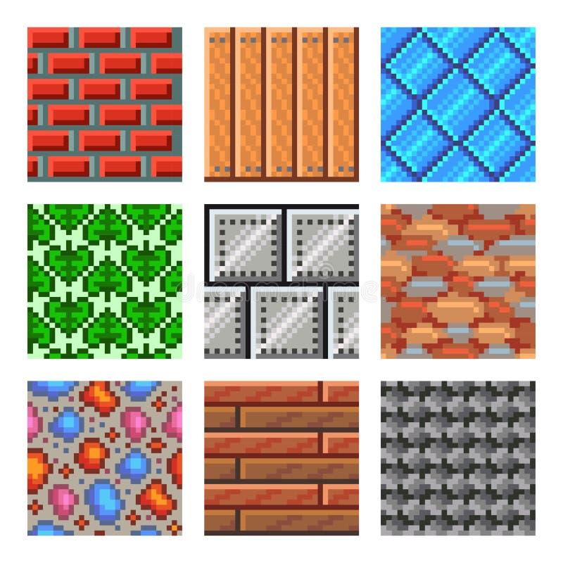 Textures sans couture de pixel pour l'ensemble de vecteur d'icônes de jeux illustration stock