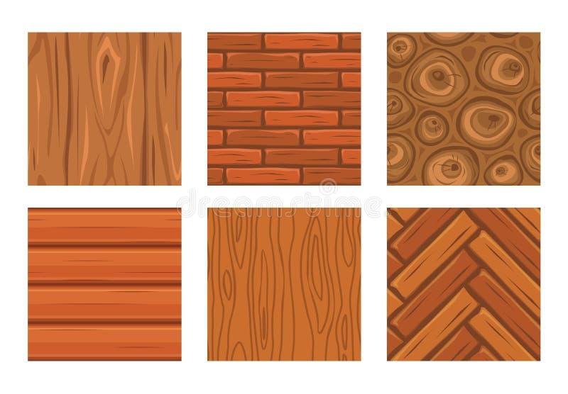 Textures sans couture en bois de bande dessinée illustration libre de droits