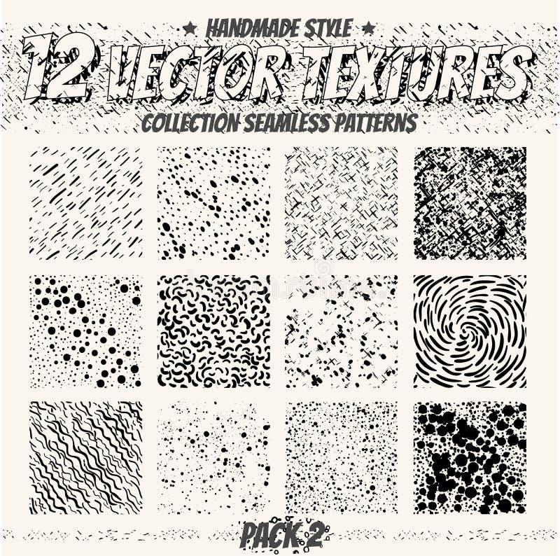 Textures sans couture monochromes de collection pour la conception numérique Dirigez les modèles pour le Web, le textile, le tiss illustration de vecteur