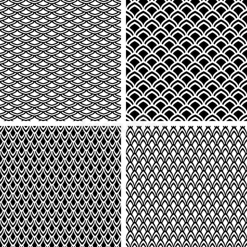 Textures sans joint d'échelle de poissons réglées. illustration libre de droits
