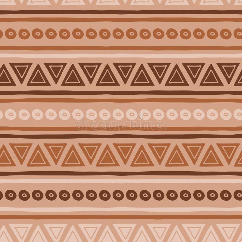 Textures tribales ethniques de brun sans couture de vecteur d'abrégé sur modèle de café en caramel illustration de vecteur