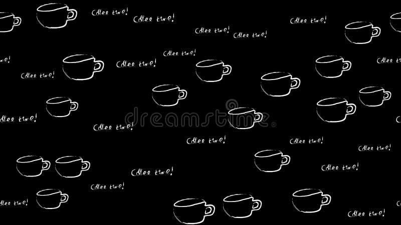 Texturice el modelo inconsútil de las tazas blancas de tazas con una pluma del café sólo dibujada en pinturas de la tiza de la ac stock de ilustración