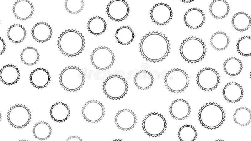 Texturice el modelo inconsútil de los casquillos tallados extracto redondo negro de la cerveza del metal con los filos para las b ilustración del vector