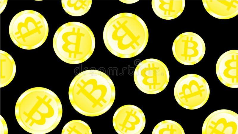 Texturice el modelo inconsútil del bitcoin costoso brillante de oro de las monedas del metal que brilla intensamente El concepto  ilustración del vector