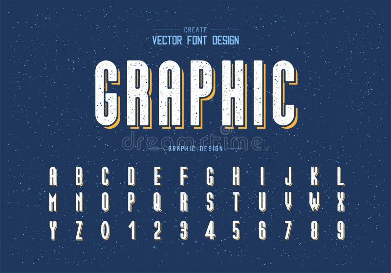 Texturice la fuente y el vector del alfabeto, la letra alta y el diseño del número, texto gráfico de la tipografía en fondo del g imagen de archivo