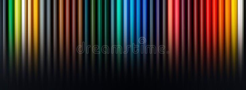 Texturice los lápices coloreados foreground La gama entera de colores del arco iris Comienzo de la escuela fotografía de archivo