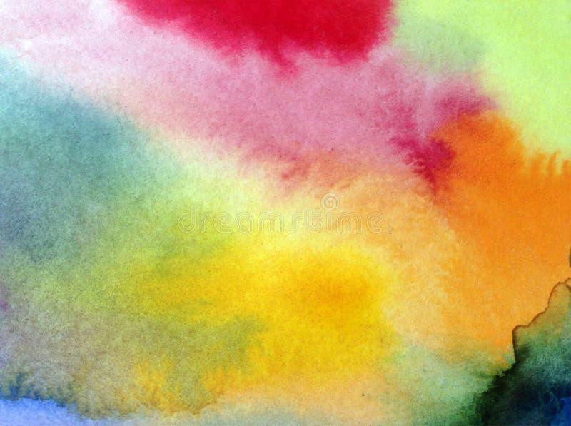 Texturisé coloré de bel de ciel d'abrégé sur fond d'art d'aquarelle de nuages éclat violet rose bleu d'arc-en-ciel image stock