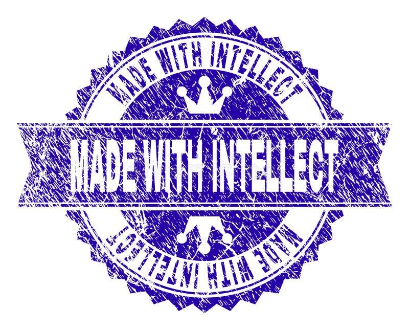 Texturisé grunge FAIT AVEC le joint de timbre d'INTELLECT avec le ruban illustration stock