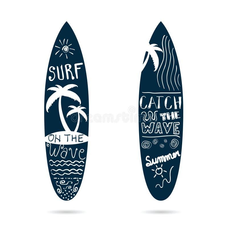 Texturisé réglé de planche de surf dans l'illustration de couleur bleue illustration de vecteur