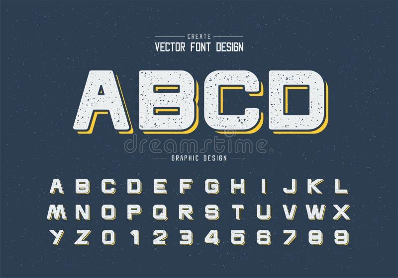 Texturrundastilsort och alfabetvektor, designstilsortsbokstav och nummer, grafisk text på bakgrund stock illustrationer