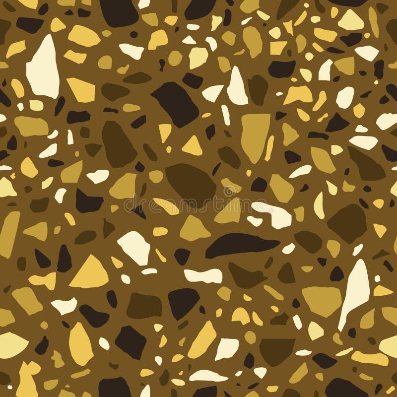 TexturTerrazzogolv, guld- mosaik, dekorativ polerad kiselstenstentegelplatta vektor illustrationer