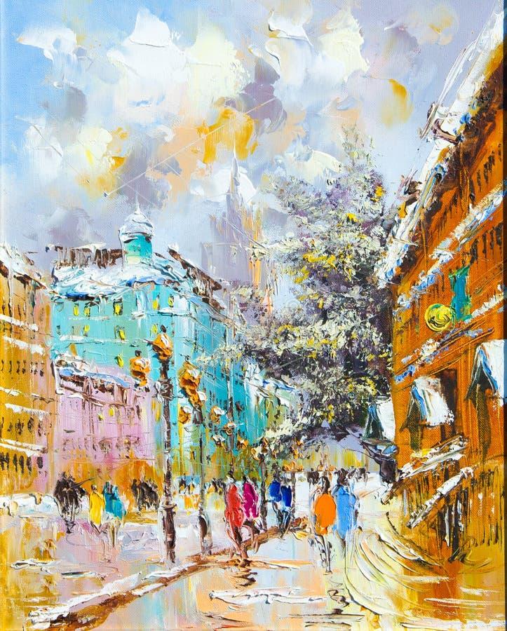 Textuur, achtergrond Het schilderen op canvas met olieverven wordt geschilderd die stock foto's