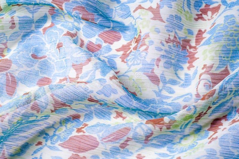 Textuur, achtergrond, patroon De stof omfloerst DE chine Blauw wit stock foto