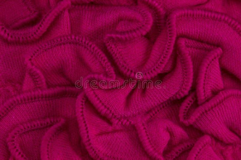 Textuur, achtergrond, patroon De stof van het kant Rode roze kleur royalty-vrije stock foto