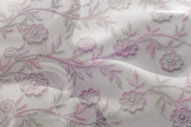 Textuur, achtergrond, patroon Roze kant op witte achtergrond speld stock afbeeldingen