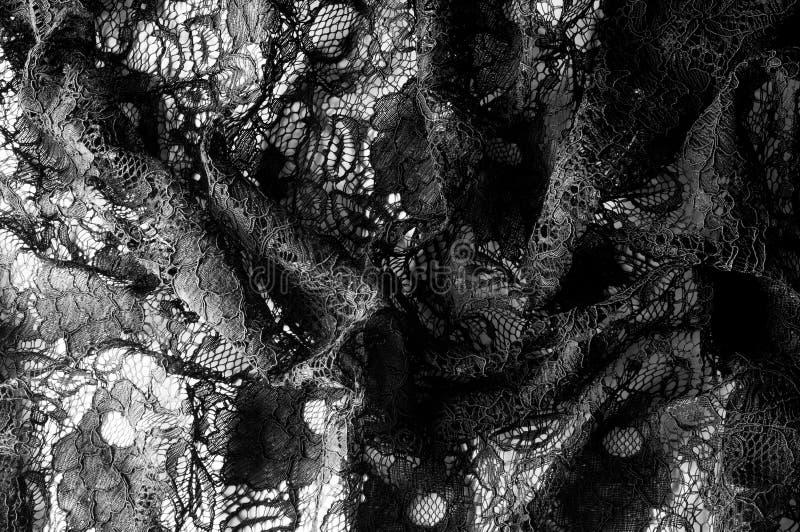 Textuur, achtergrond, patroon Stof van zwart kant Achtergrond o royalty-vrije stock foto