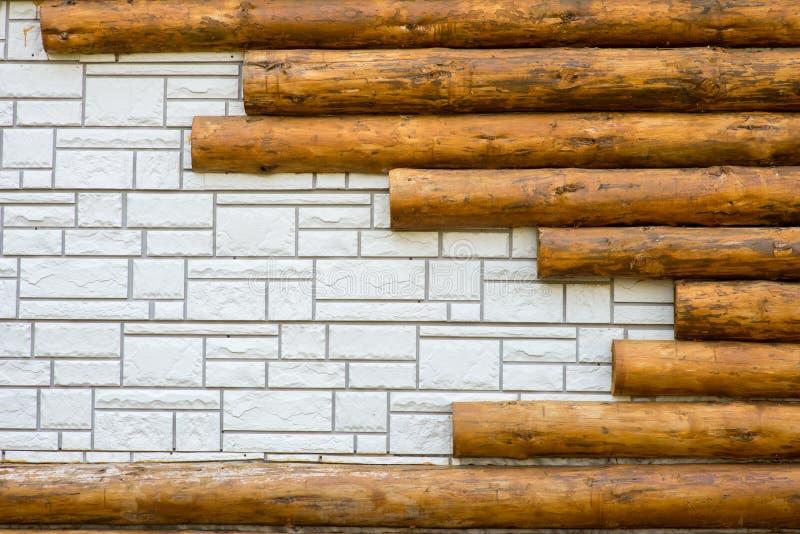 Textuur als achtergrond van witte die baksteen wordt gecombineerd met stock afbeelding