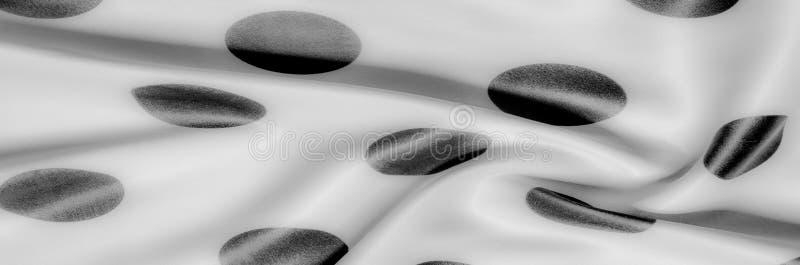 Textuur De stof van de zijde Polka Grijze kleur, staal, zilver Sierlijke po royalty-vrije stock foto