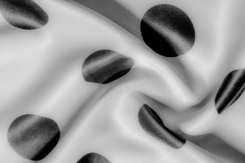 Textuur De stof van de zijde Polka Grijze kleur, staal, zilver Sierlijke po royalty-vrije stock fotografie