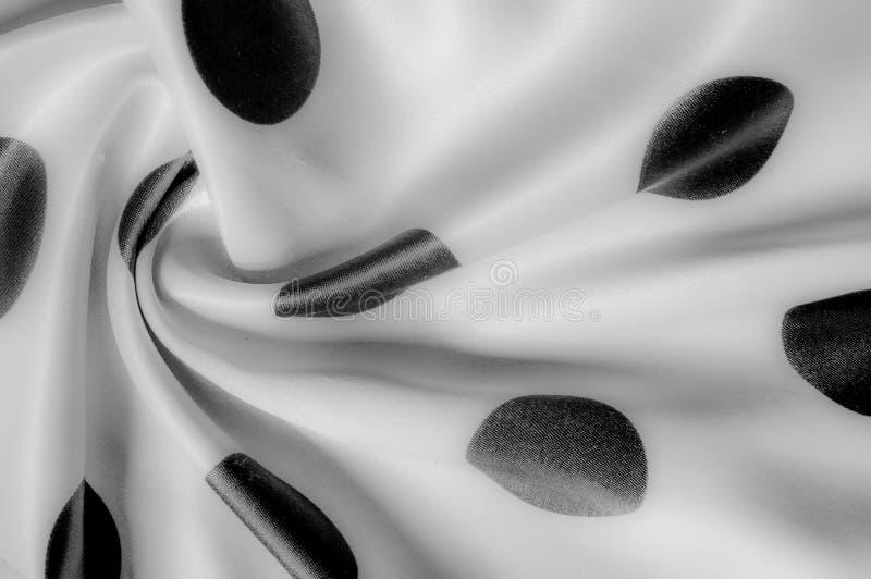 Textuur De stof van de zijde Polka Grijze kleur, staal, zilver Sierlijke po stock afbeeldingen