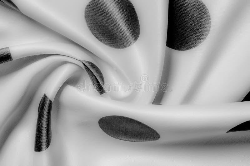 Textuur De stof van de zijde Polka Grijze kleur, staal, zilver Sierlijke po stock foto's