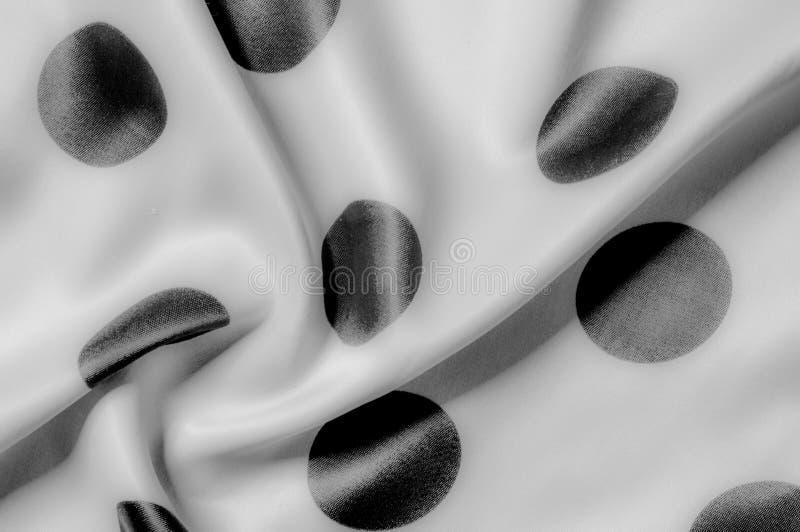 Textuur De stof van de zijde Polka Grijze kleur, staal, zilver Sierlijke po royalty-vrije stock foto's