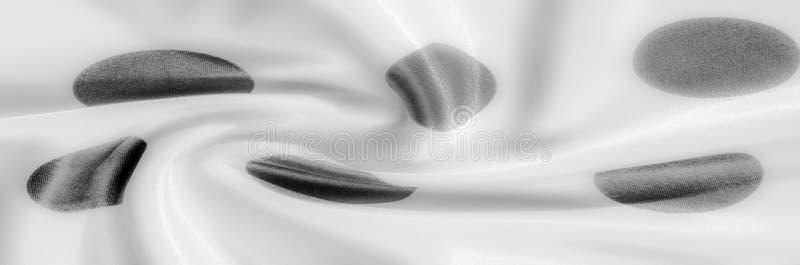 Textuur De stof van de zijde Polka Grijze kleur, staal, zilver Sierlijke po stock afbeelding