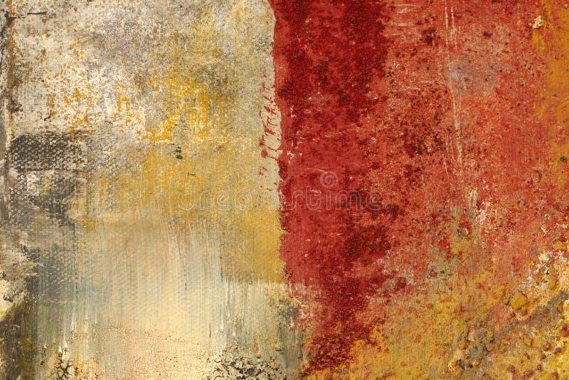 Textuur en achtergrond, op canvas, rood en oker wordt geschilderd die stock afbeelding