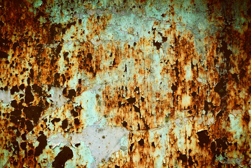 Textuur gebarsten verf op roestige staalmuur stock fotografie