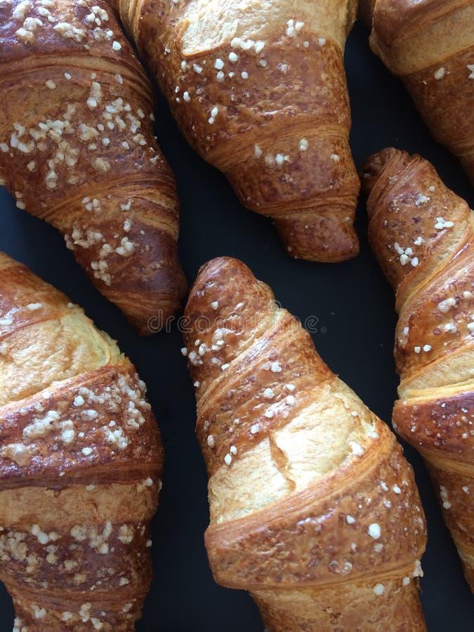 Textuur met croissant voor ontbijt stock fotografie