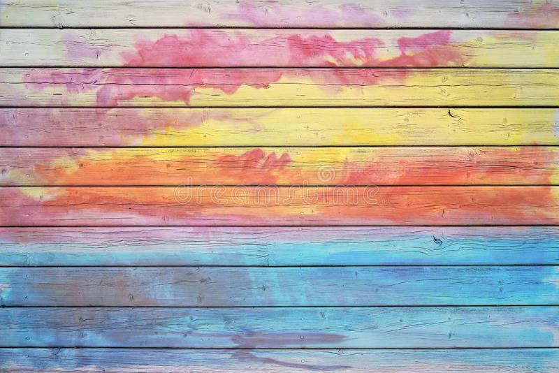 Textuur met gekleurde verf houten muur wordt gesmeerd van het oude huis dat stock fotografie