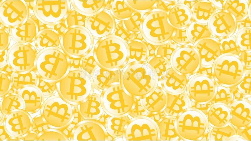 Textuur naadloos patroon van gouden glanzende gloeiende dure metaalmuntstukken bitcoin Het concept blokkadetechnologie royalty-vrije illustratie