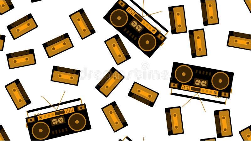 Textuur naadloos patroon van oude uitstekende bandrecorder voor het luisteren aan audiocassettes van 70 ` s, 80 ` s, 90 ` s De ac stock illustratie