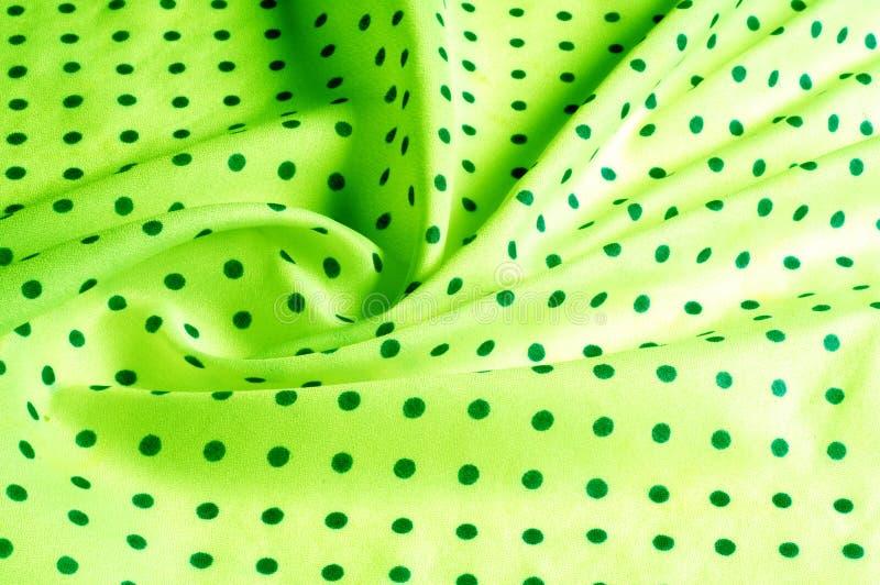 Textuur Tekening Achtergrond de zijdestof is groen, polka dit royalty-vrije stock foto's